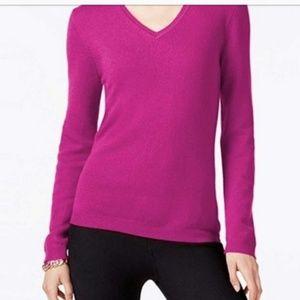 Charter Club L Cashmere fuchsia v-neck sweater
